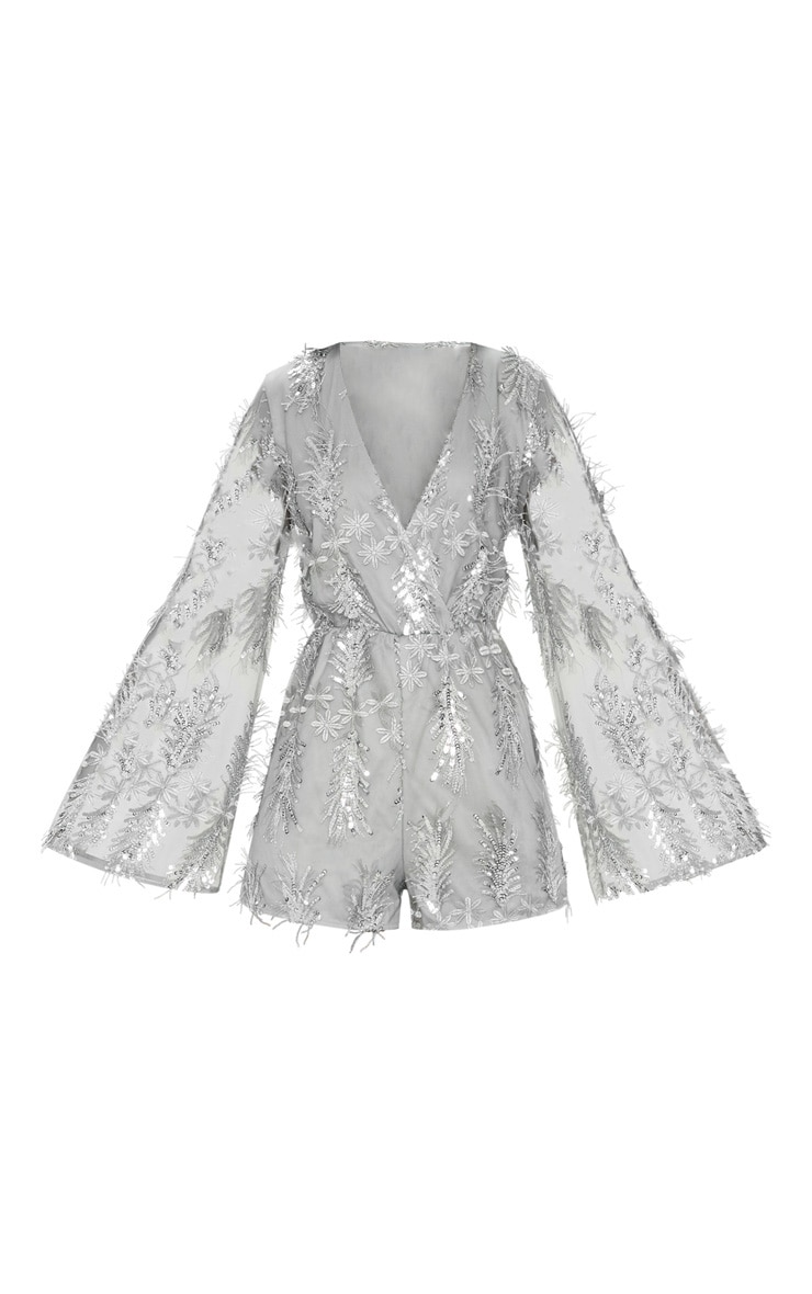 Silver Floral Sequin Embroidered Wrap Front Playsuit 3