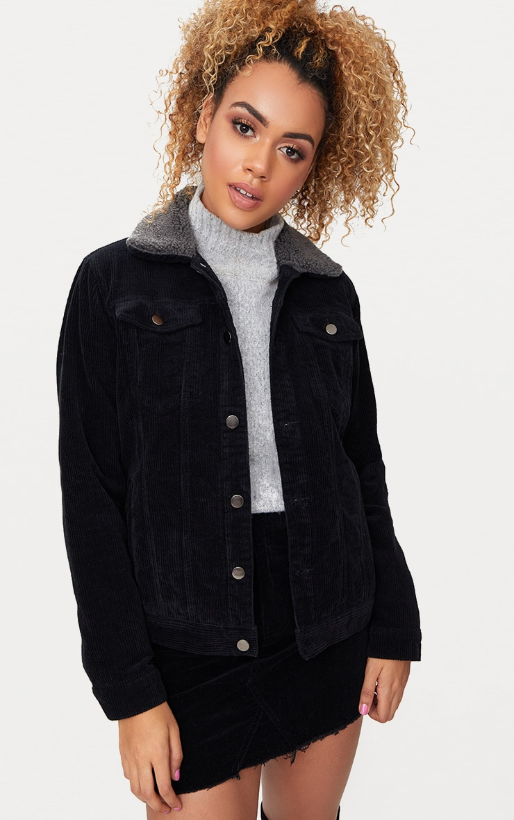 Black Faux Fur Collar Cord Jacket 1