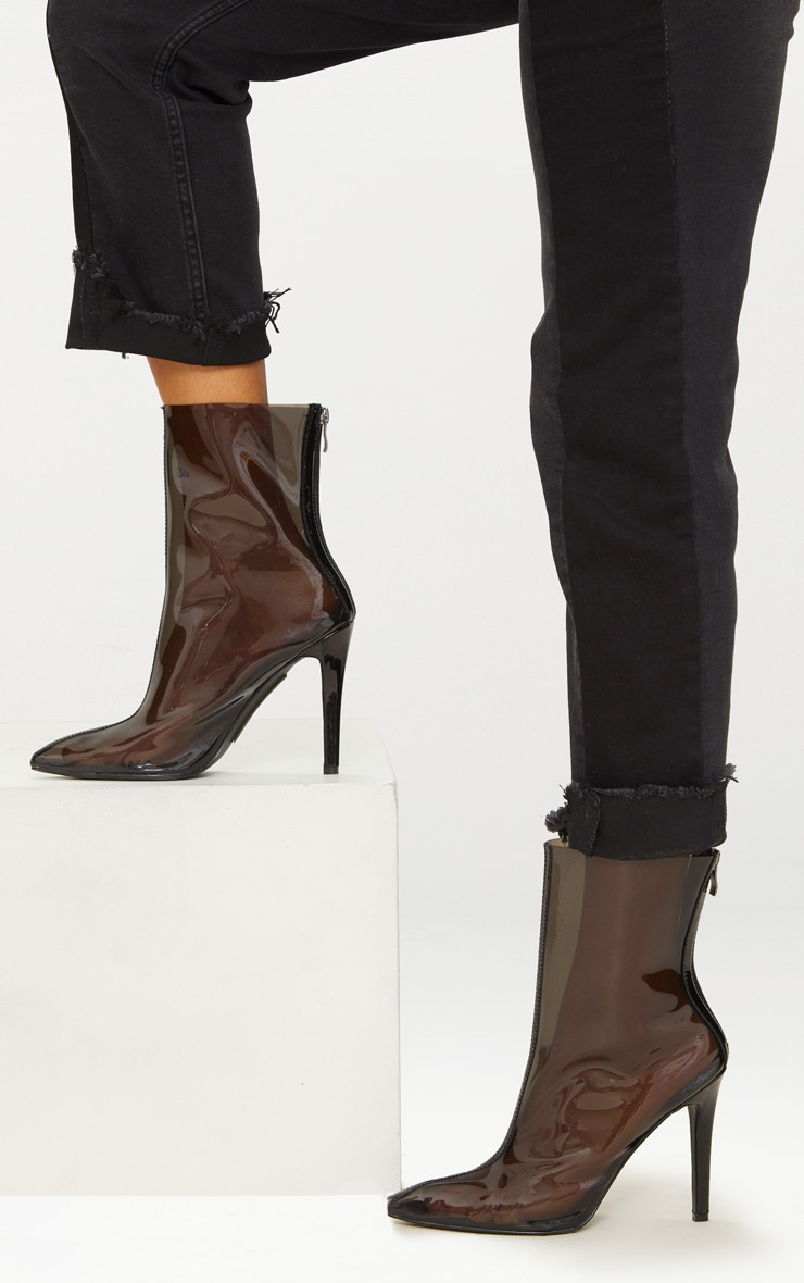 Black Clear Pointed Zip Back Heeled Boot