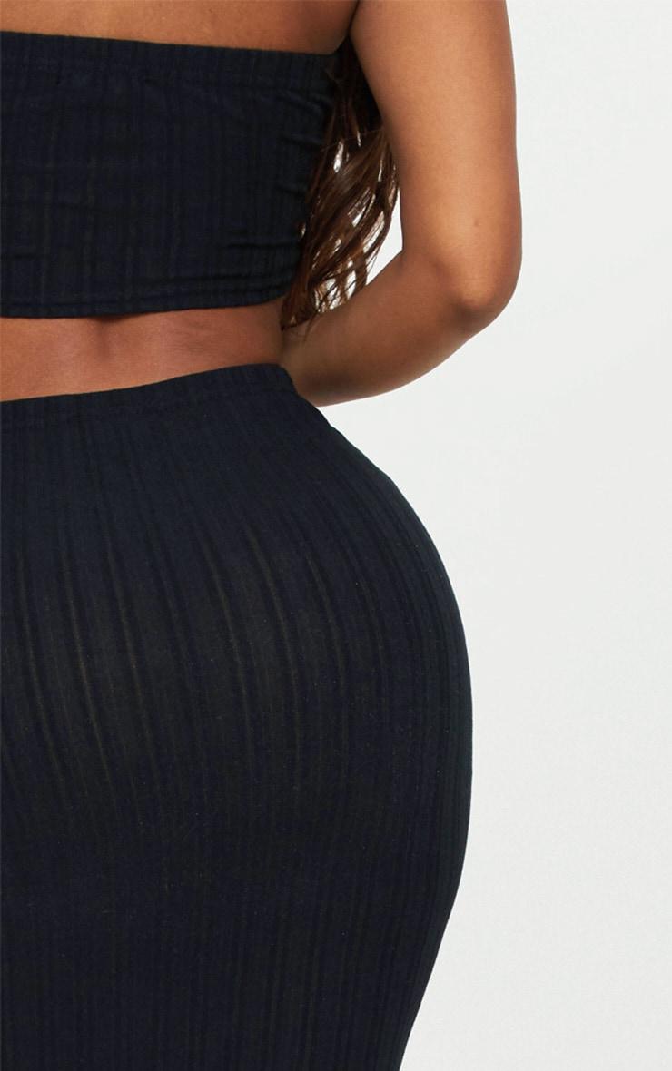 Shape Black Ribbed Longline Midi Skirt 5