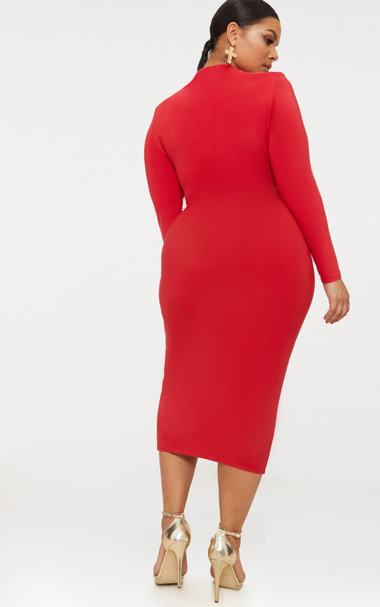 Plus Red Double Layered Slinky High Neck Midaxi Dress 2