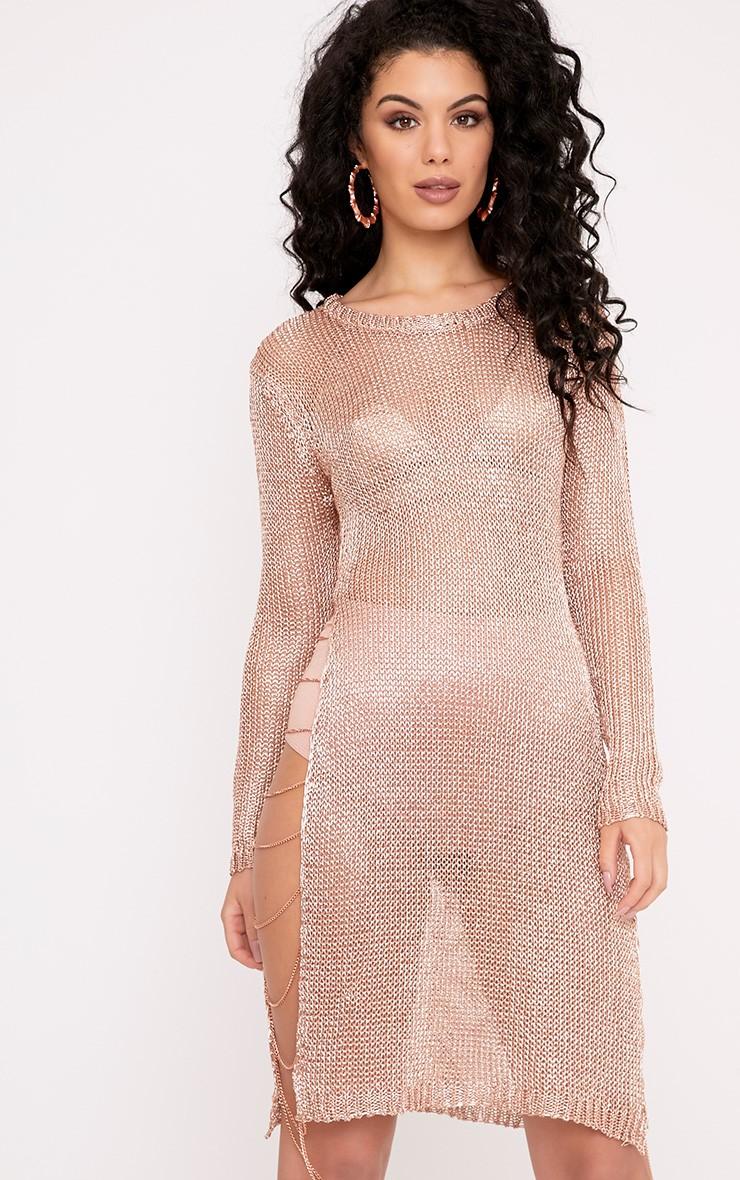 Lilianna robe mini transparente en maille métallisée rose doré et chaines 3