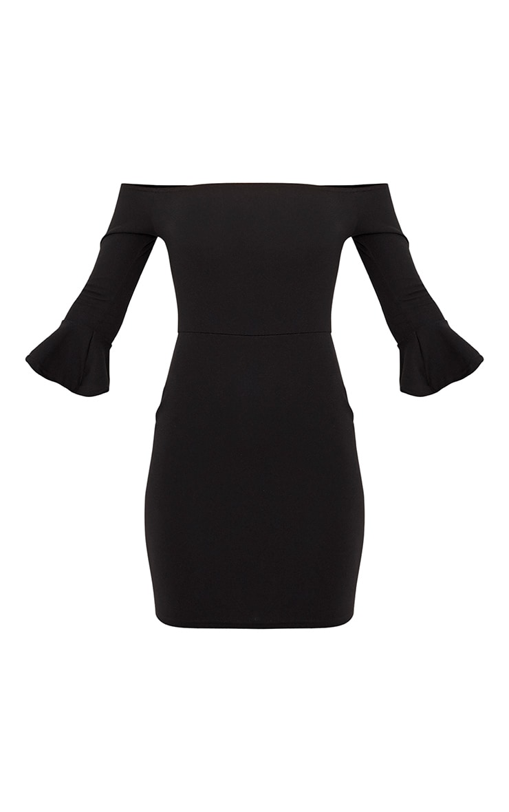 Lillianna Black Bardot Frill Cuff Bodycon Dress  3