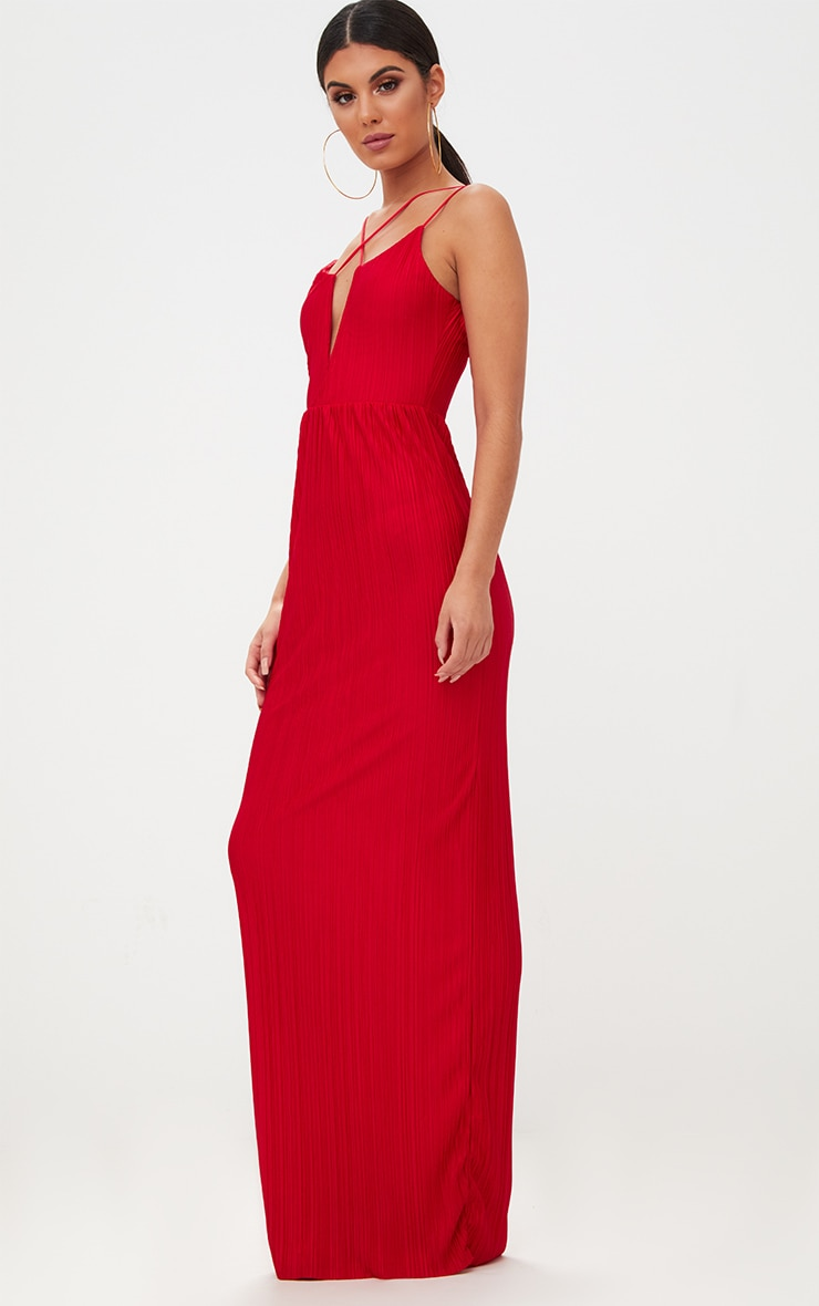 Red Pleated Cross Strap Maxi Dress 4