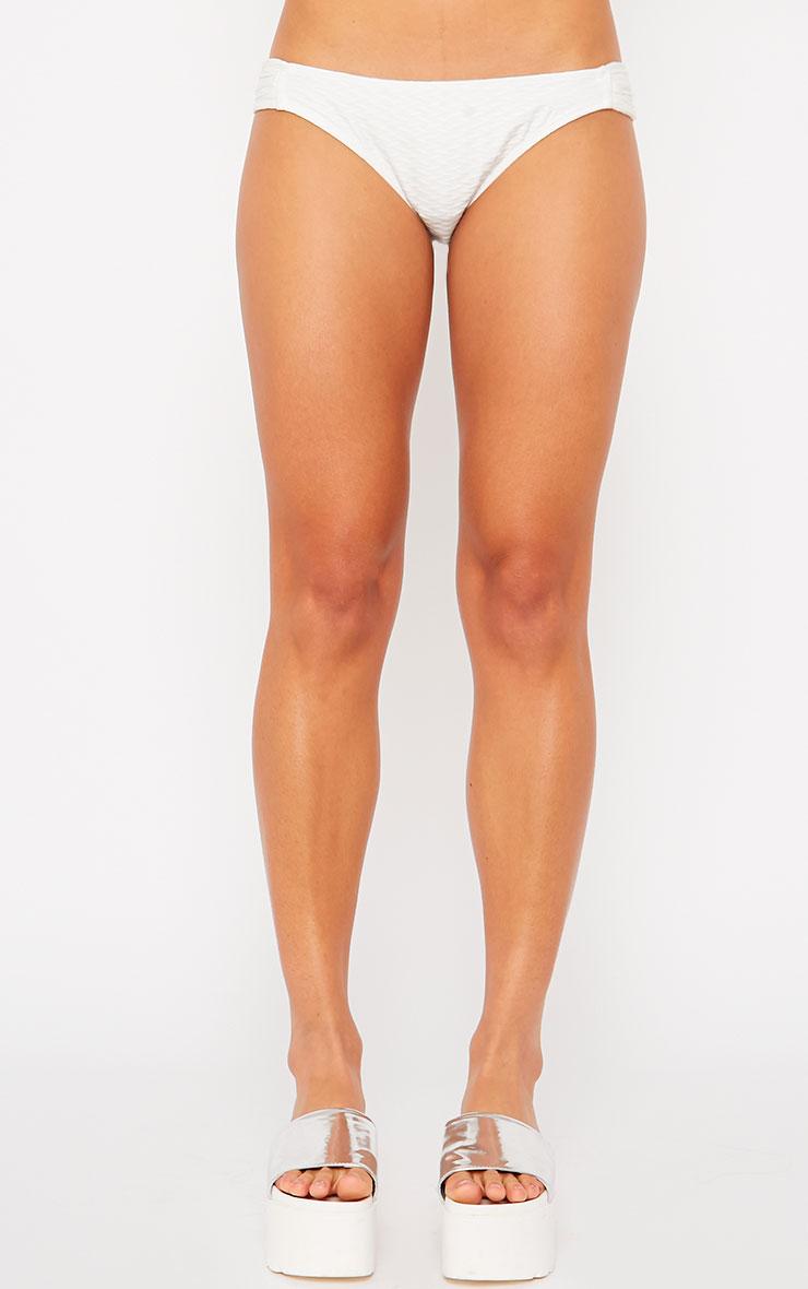 Ellen White Textured Bikini Bottoms 4