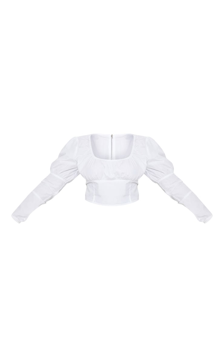 Plus White Puff Sleeve Square Neck Crop Top 3