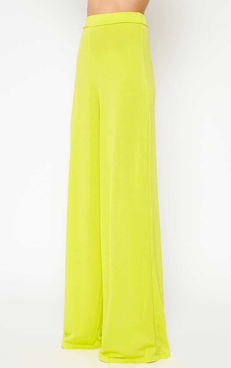 Zafia Lime Slinky Palazzo Trousers 3