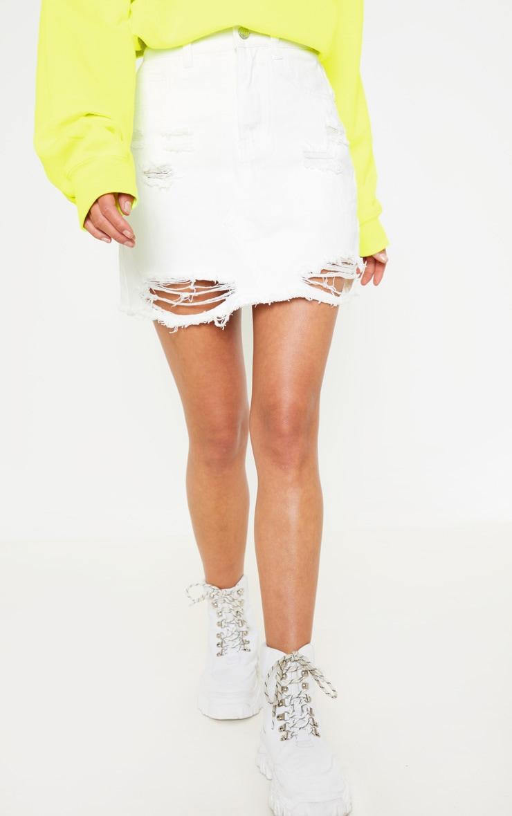White Distressed Midi Skirt  2