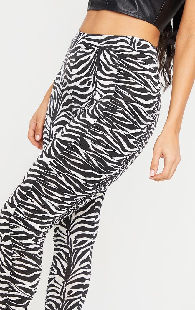 Zebra Ruched Side Slinky Leggings 4