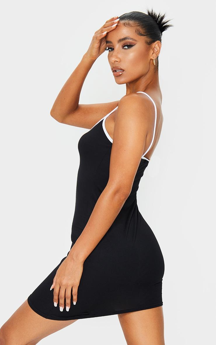 Black V Neck Binding Contrast Strappy Bodycon Dress 2