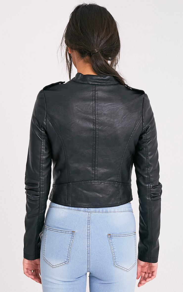 Merscha Black Faux Leather Biker Jacket 2