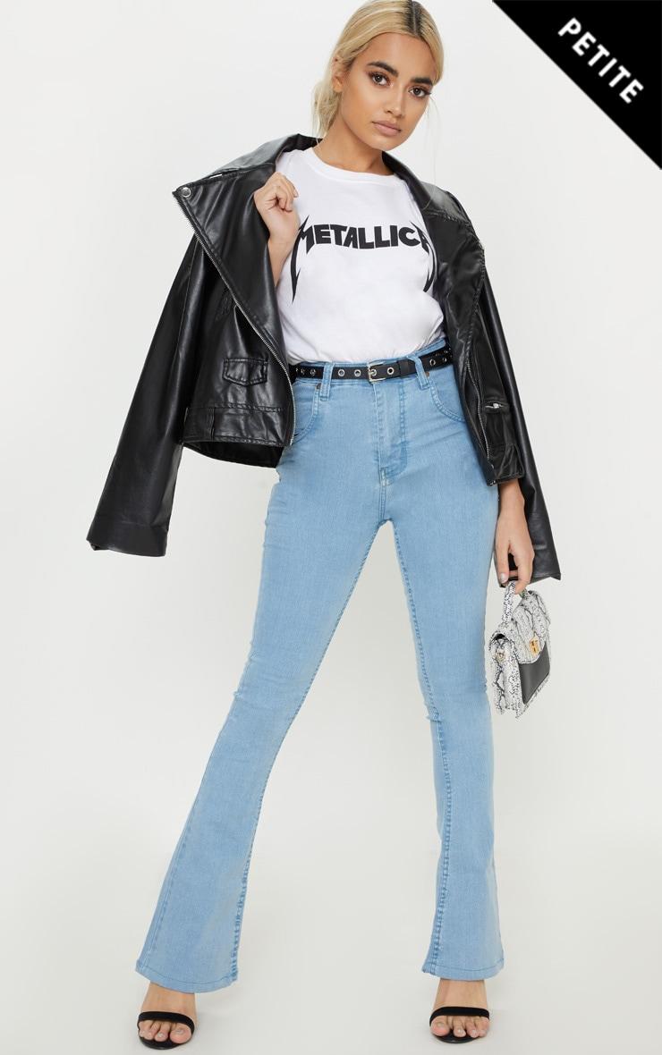 Petite Light Wash Stretch Denim Flare Jeans 1