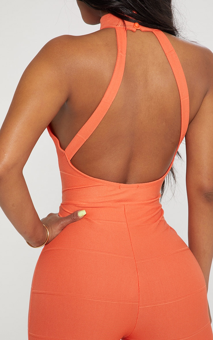 Shape Orange Bandage High Neck Jumpsuit 5