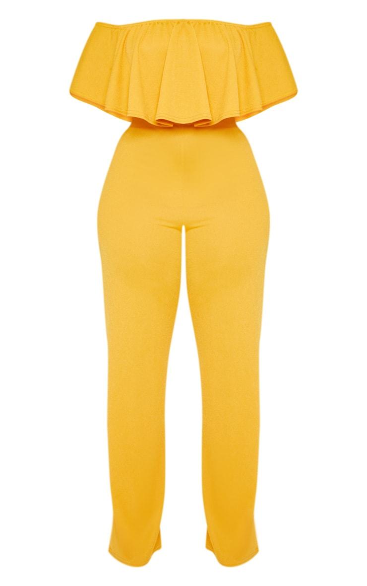 Plus Mustard Bardot Frill Culotte Jumpsuit 3