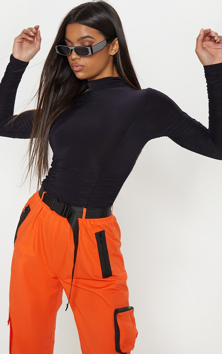 Black Slinky High Neck Ruched Bodysuit 2