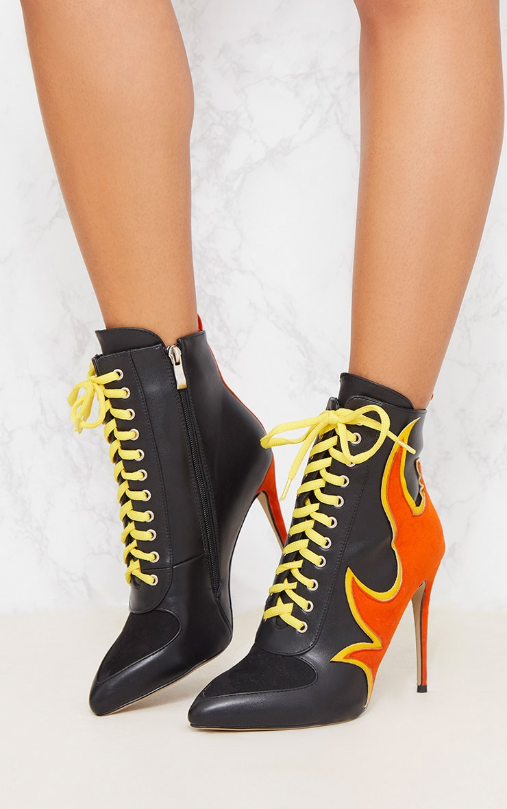 Black Flame Lace Up Ankle Boot 3