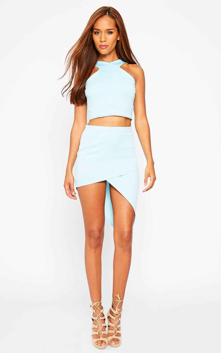 Tiff Powder Blue Wrap Hem Scuba Skirt 1
