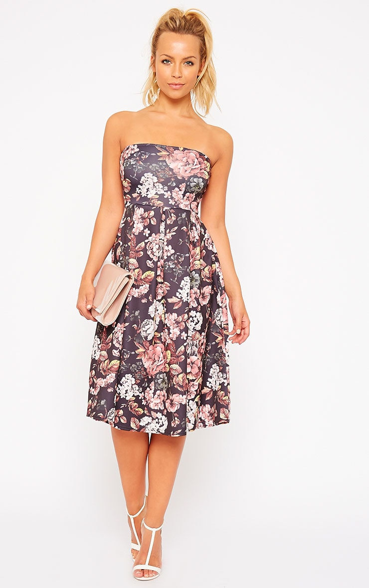 Dacia Black Floral Bandeau Skater Dress 3