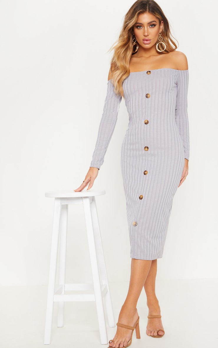 Grey Button Detail Bardot Knitted Dress