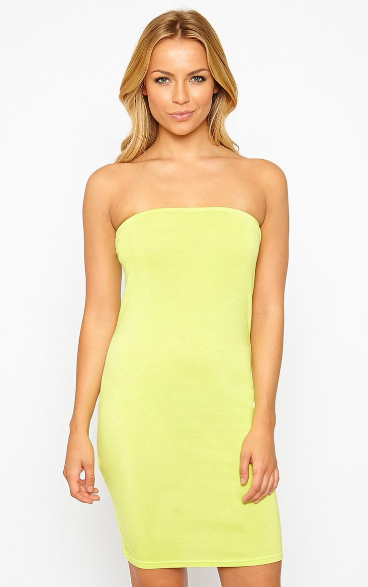 Basic Lime Bandeau Jersey Mini Dress 1