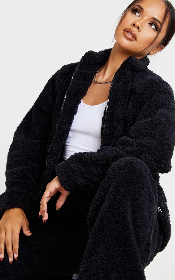 Black Borg Funnel Neck Zip Front Sweater 5