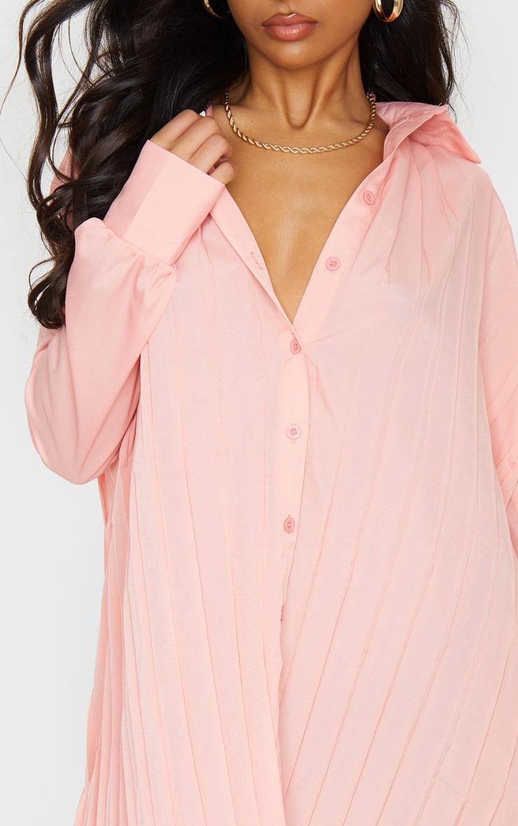 Peach Pleated Oversized Shirt Dress 4