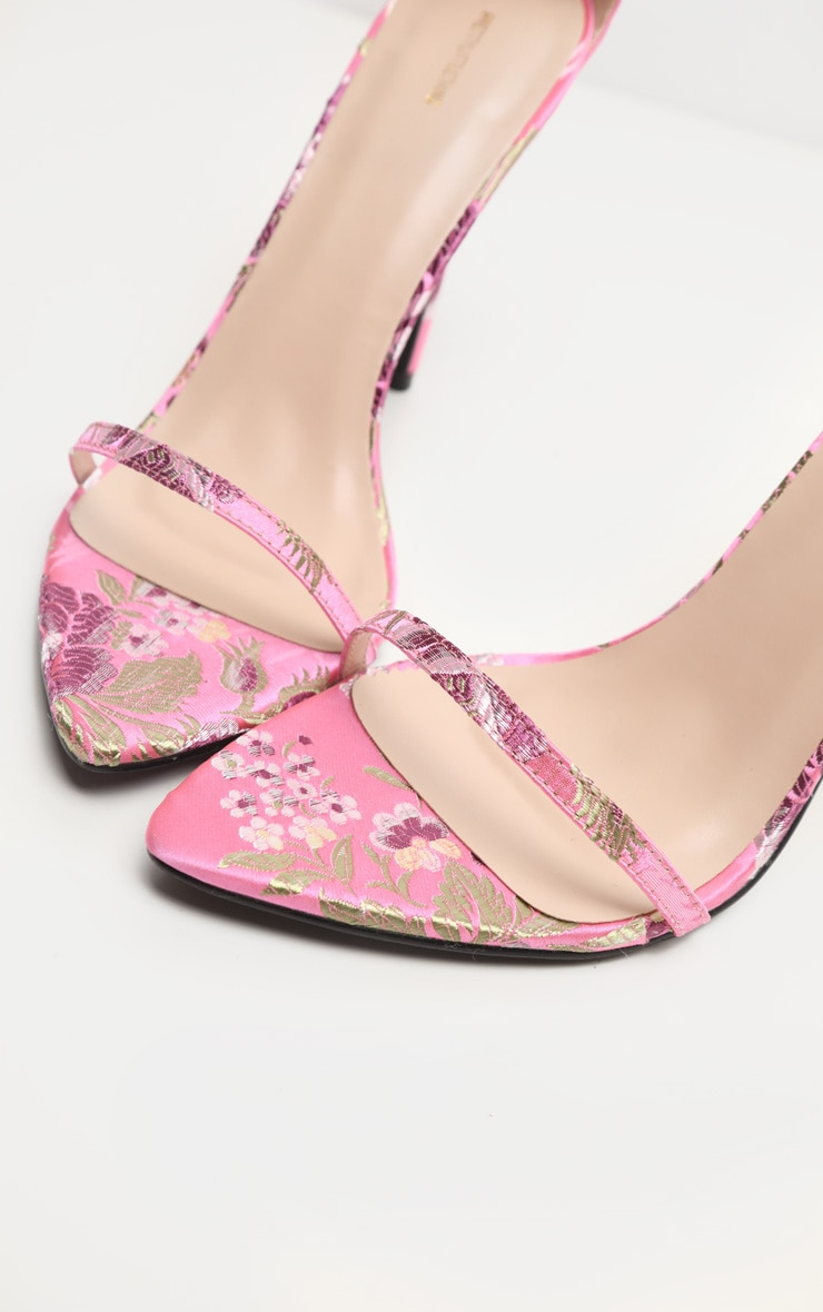 Pink Floral Oriental Strappy Sandal 7