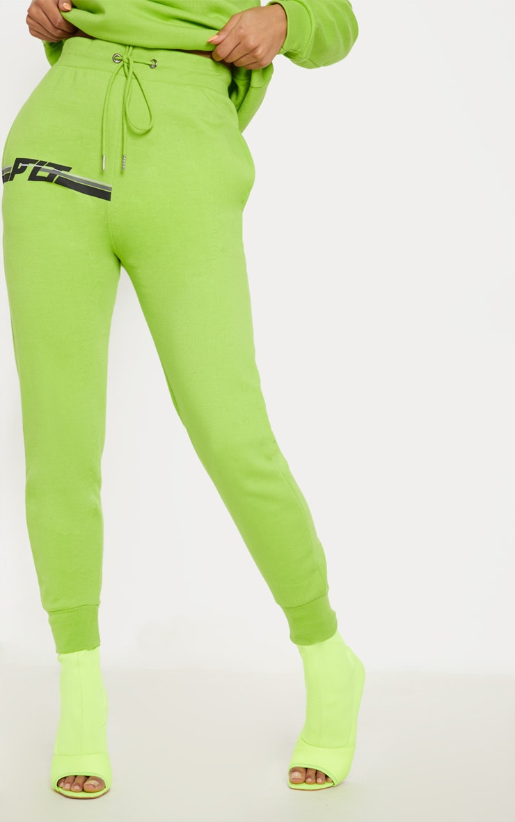 PRETTYLITTLETHING Neon Lime Printed Multi Stripe Jogger 2