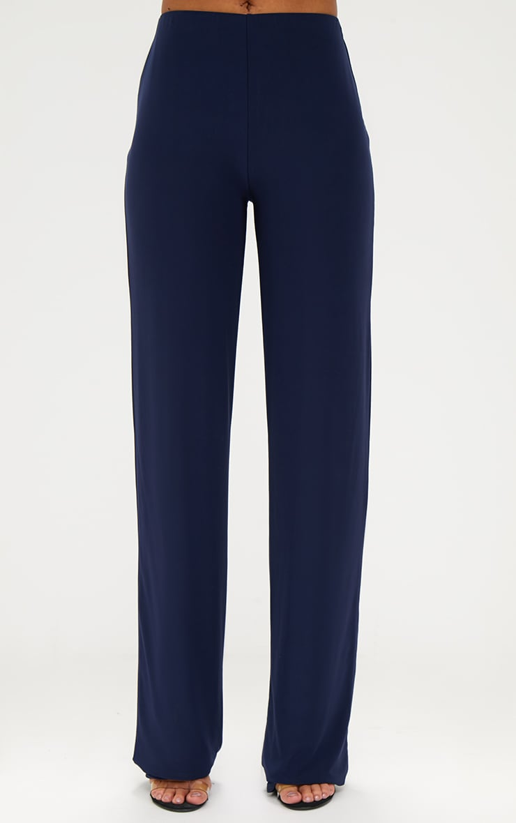 Navy Double Layer Slinky Wide Leg Trousers 2