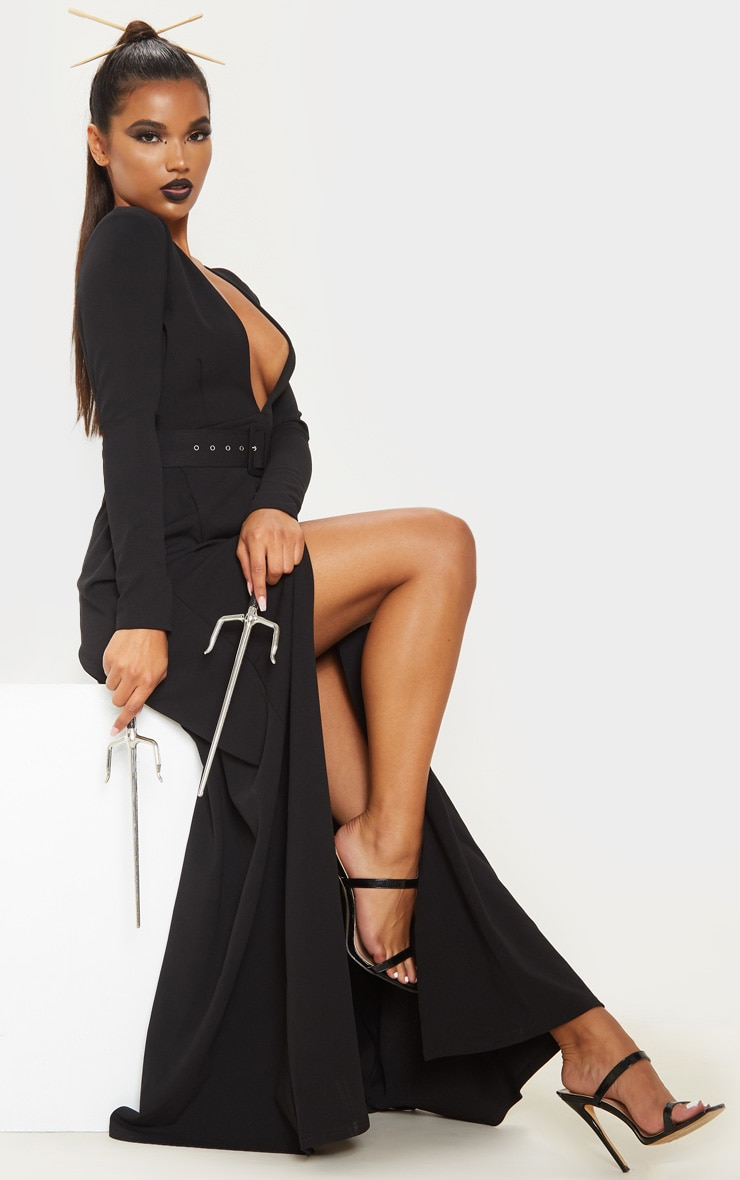 Black Long Sleeve Plunge Belted Maxi Dress 5