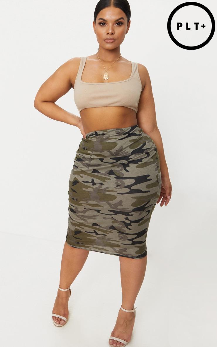 Plus Khaki Camo Print Midi Skirt