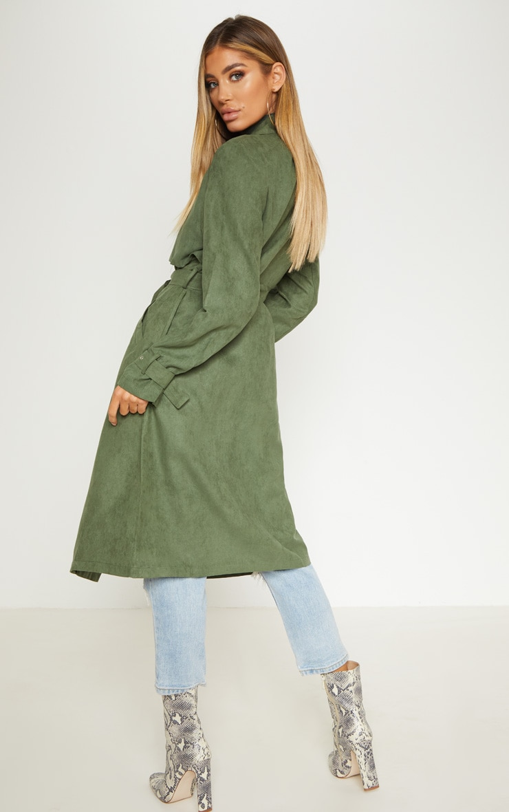 Khaki Faux Suede Trench  2