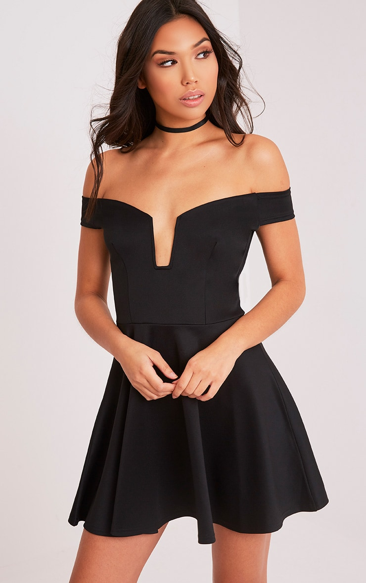 Mariah Black Plunge Bardot Skater Dress 1