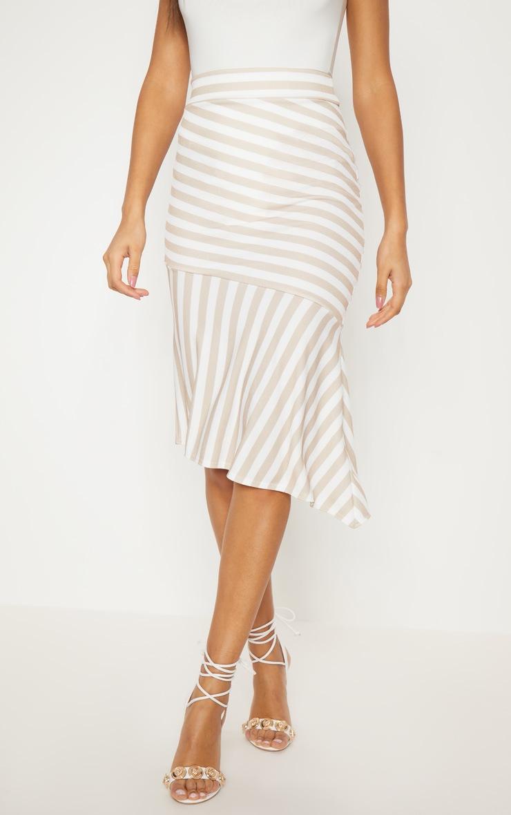 Stone Crepe Asymetric Stripe Skirt 2