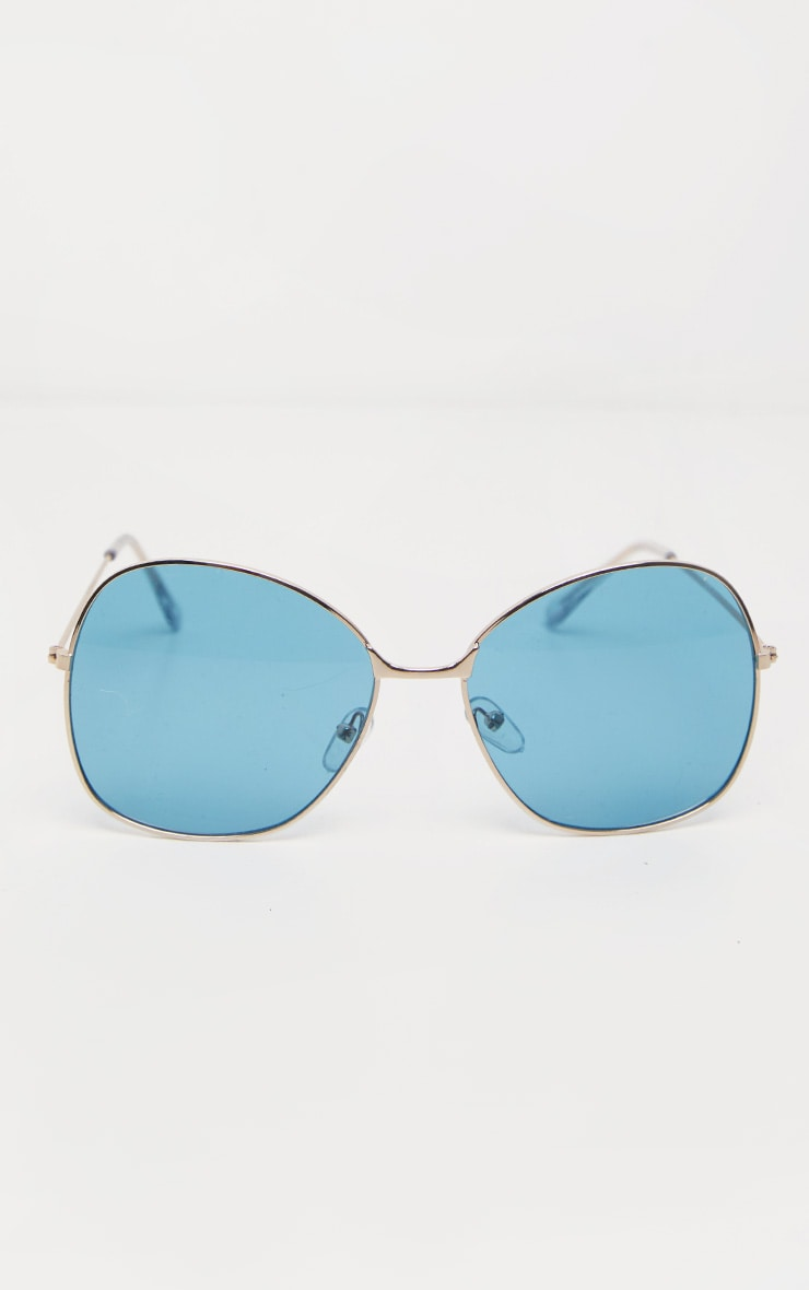 Blue Oversized Square Lens Gold Metal Frame Sunglasses 2