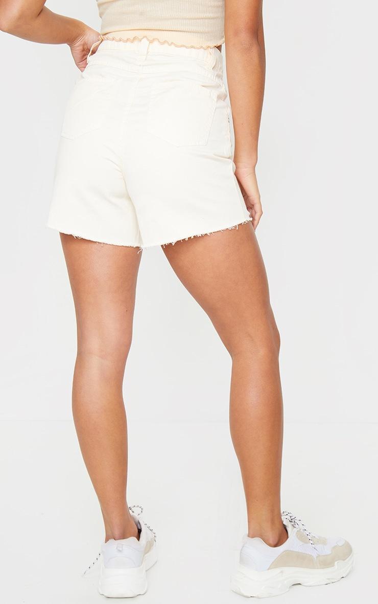 Petite Ecru Frayed Hem Distressed Denim Shorts 3