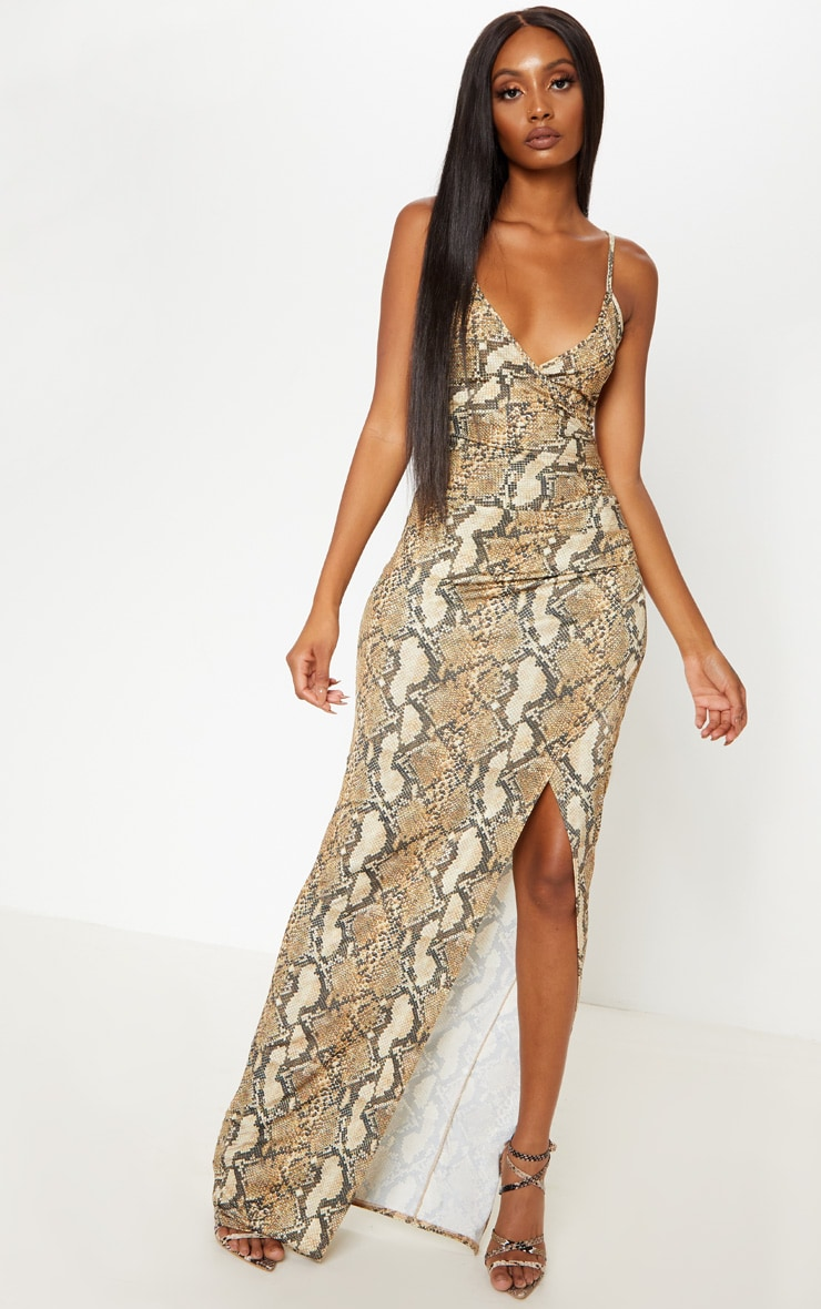 Taupe Snake Print Ruched Thigh Split Maxi Dress by Prettylittlething