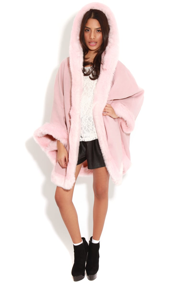 Mada Pink Hooded Faux Fur Cape 3