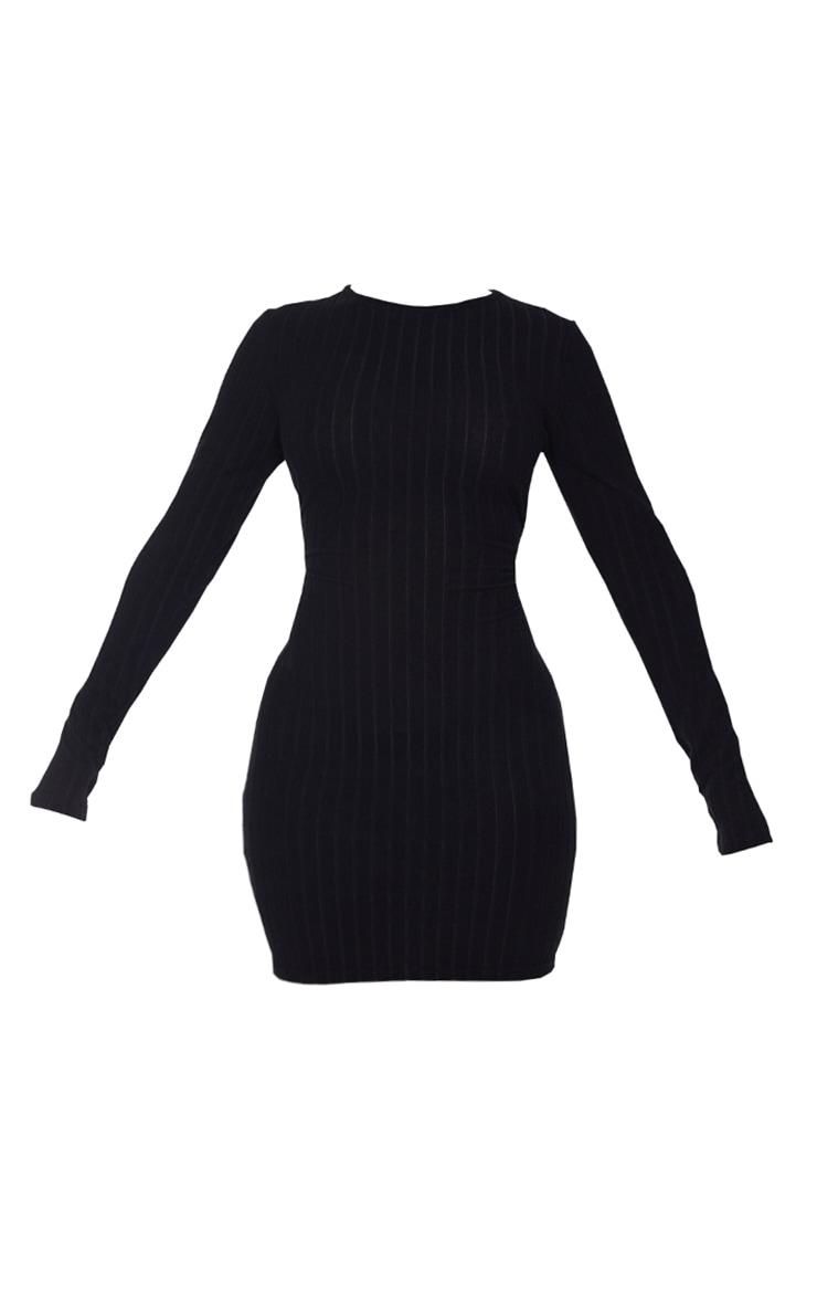 Shape - Robe moulante noire côtelée douce à manches longues 5