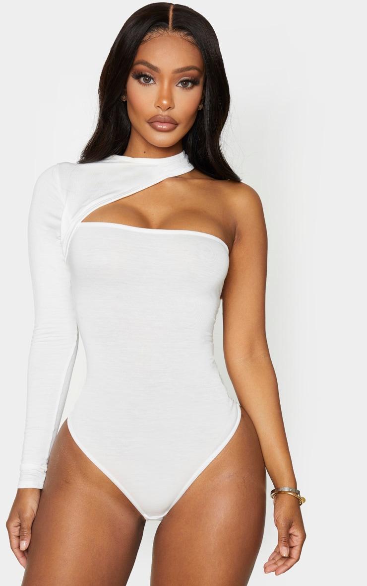 Shape Cream Jersey High Neck One Sleeve Bodysuit 3