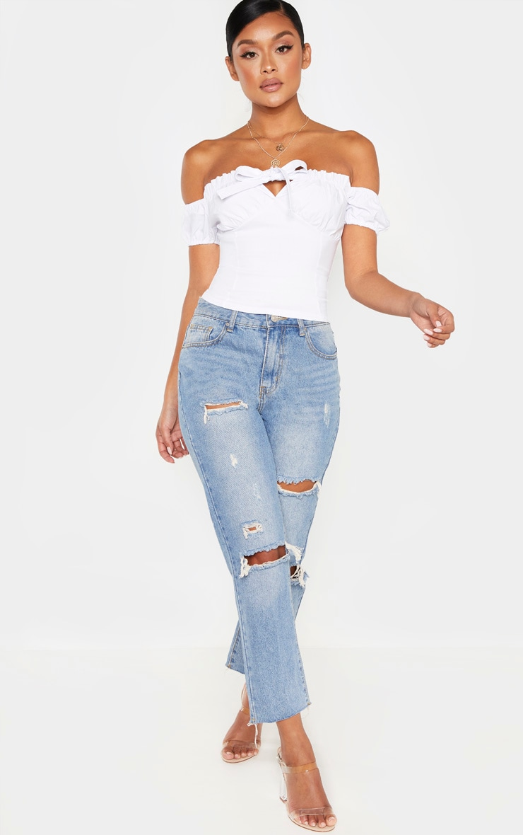 White Bardot Tie Front Short Sleeve Crop Top 4
