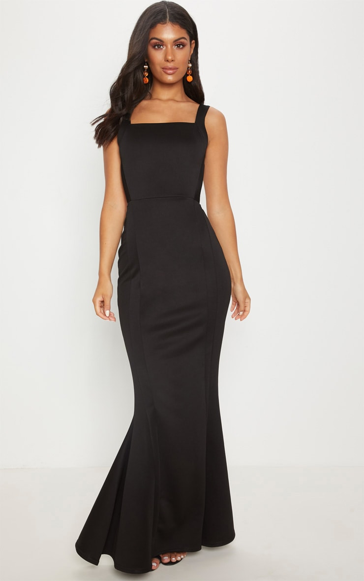 Black Square Neck Backless Maxi Dress