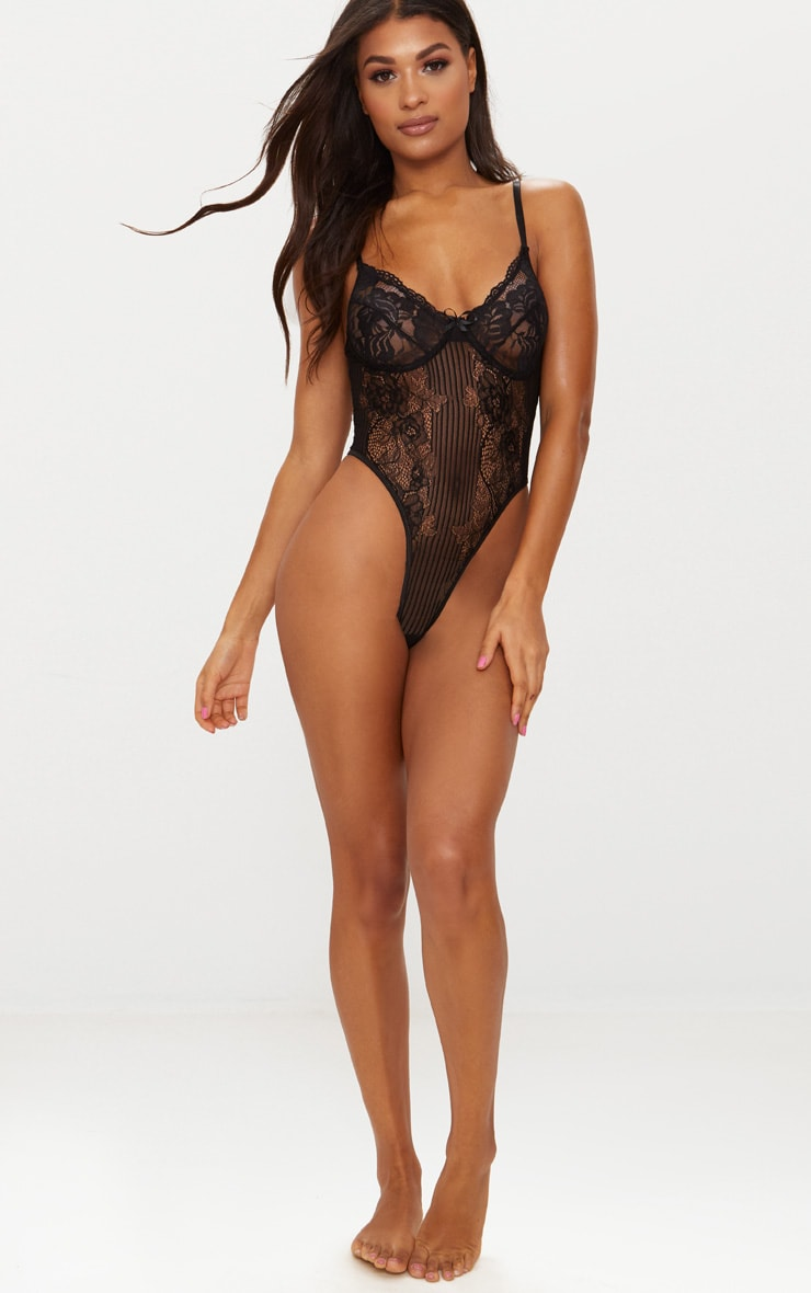 Black Lace Insert High Leg Cupped Body 5