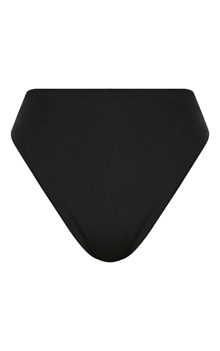 Black Mix & Match High Waisted High Leg Bikini Bottom 1