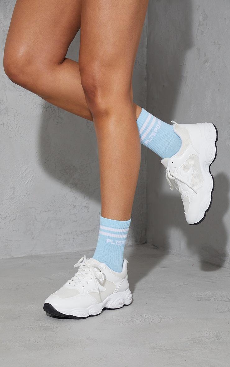 PRETTYLITTLETHING Baby Blue Sports Socks 2