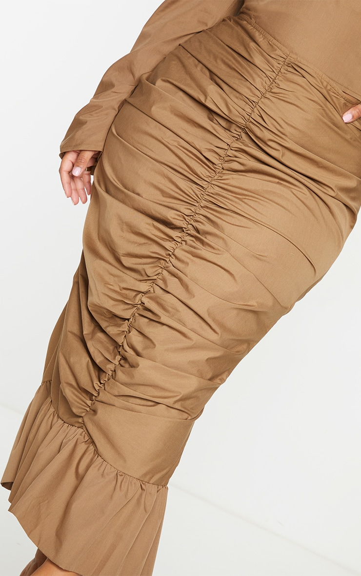 Plus Camel Woven Ruched Frill Hem Midi Skirt 4