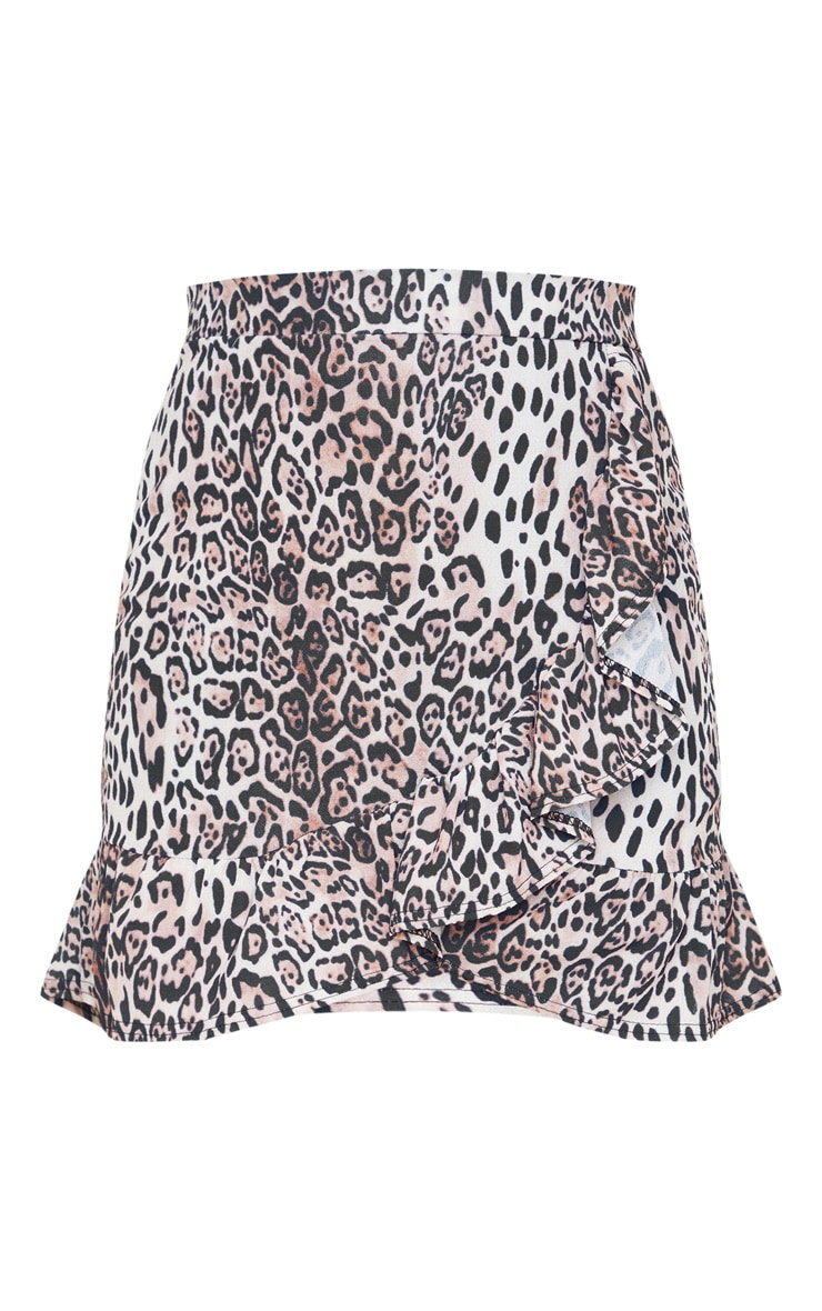 Leopard Print Frill Hem Wrap Mini Skirt 3