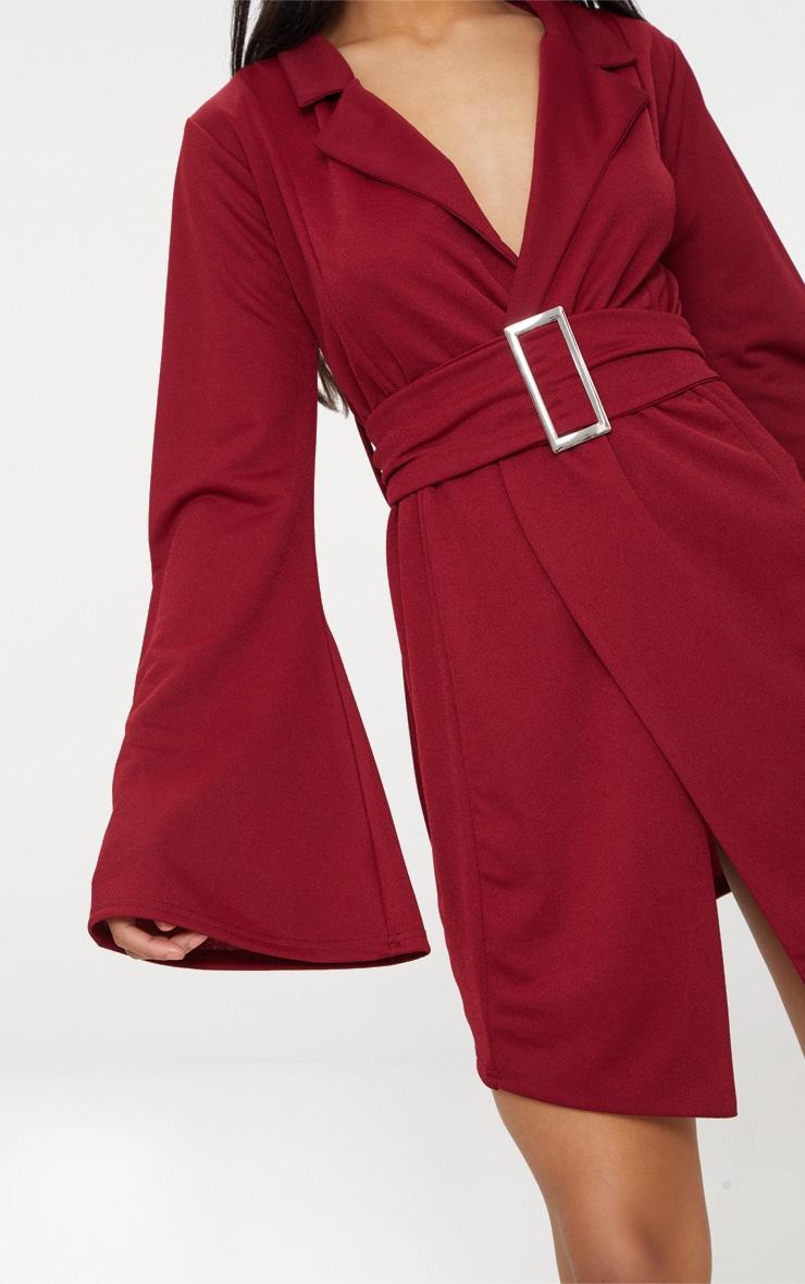 Burgundy Flared Sleeve Belt Detail Blazer  5