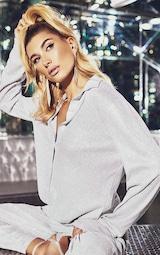 Silver Glitter Mesh Long Sleeve Shirt 3