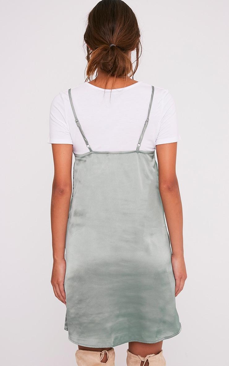 Stephany Sage Green Satin Slip Dress 2